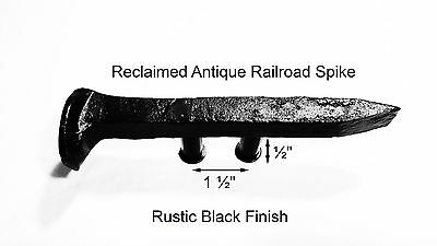 "1-1/2"" Left Black Railroad Spike Dresser Drawer Cabinet Handle Antique Vintage"
