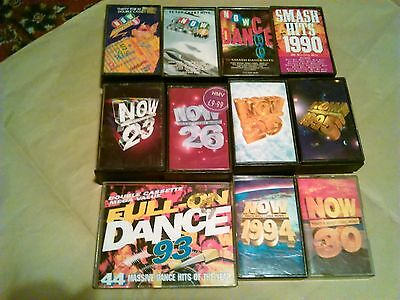 """Job Lot Of12 """"now Thats What I Call Music"""" Cassette Tapes+Smash Hits 90+Dance 93"""
