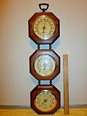 Vintage Springfield Home Weather Station Thermometer, Barometer & Humidity Meter