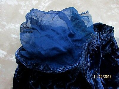 Antique Vintage Ruched Royal Blue Silk Rayon Velvet Lg Poufed Sleeve Fabric