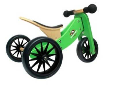 Brand new Kinderfeets Tiny Tot 2 in 1 Wooden Trike and Balance Bike Green
