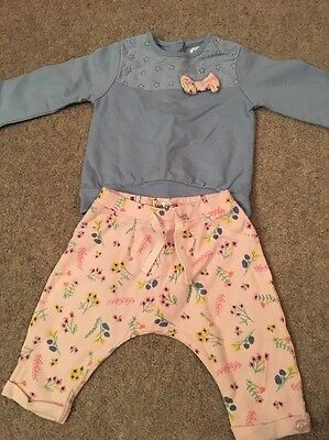 Baby Girl Clothes Outfit 3-6 Months Ladybird Very Pink Blue Floral Bow Jog Set