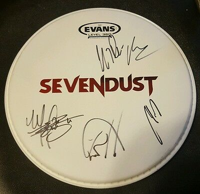 Rare! SEVENDUST Autographed Signed Drumhead by All!