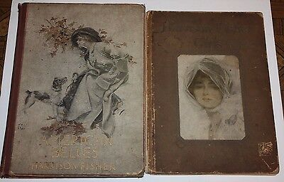 RARE- Lot of 2 Antique HARRISON FISHER Books - AMERICAN BELLES 1911 & GIRLS 1914