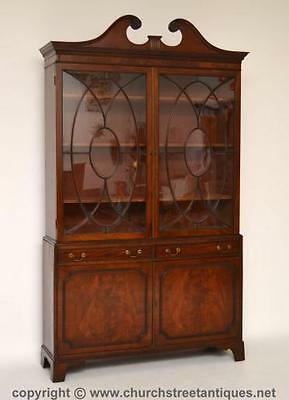 Large Antique Period Mahogany Glazed Bookcase On Cupboard - C.1830-50