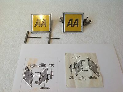 2 X Original AA Car Badges With Copy Of Fitting Instruction.