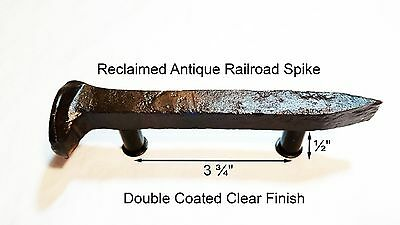 "3-3/4"" Left Sealed Railroad Spike Dresser Drawer Cabinet Handle Antique Vintage"