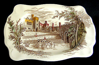 "Johnson Bros Rectangular Plate ""Haddon Hall"" Transfer Printed & Hand Coloued"