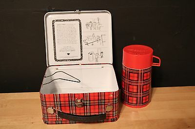 Vintage Aladdin Metal Red Plaid Lunchbox and Thermos