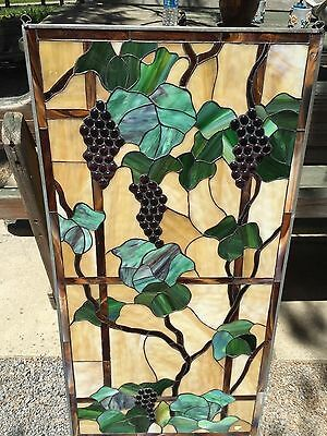 Handmade Grape Stained Glass Window Grape Bunches Wall Hanging New