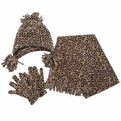 Miss Fiori Hat Glove and Scarf Set Girls - Leopard style.