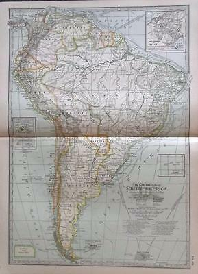 1901The Century Atlas South America (4 maps)Original Antique Maps, Printed Color