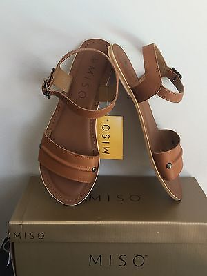 New Miso Ladies Strappy Summer Sandals Slides, Size 8/ 39 EUR/ 6 UK, Tan