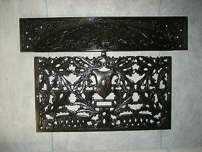 Antique Victorian Cast Iron Fireplace Grate, Register, Grill. Large