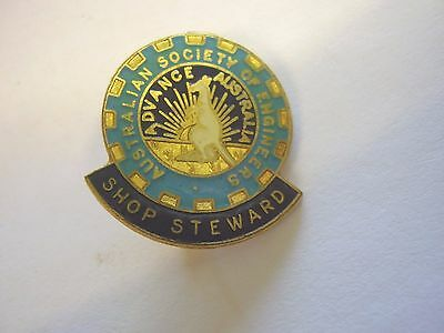 Vintage Australian Society Of Engineers Union Shop Steward Member Badge