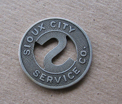 Vintage Sioux City Iowa Metal Transportation Service Token~Good For One Fare