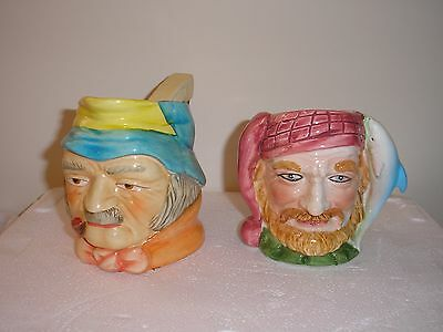 Two Vintage Toby Jugs. H=10cm and 9cm