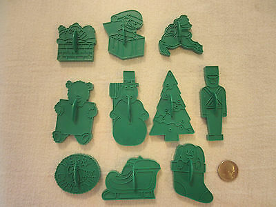 Lot Of 10  Green Plastic Vintage  Christmas Holiday Cookie Cutters