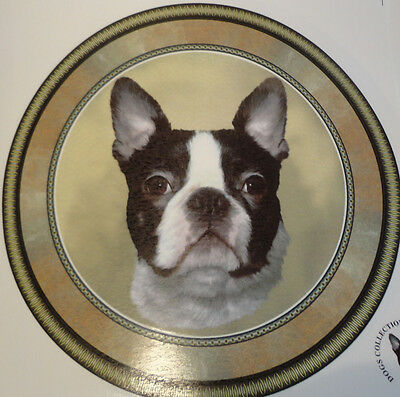 Ceramic Decal LARGE PLATE SIZE  190mm diam.   BOSTON TERRIER