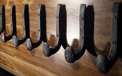 6 Antique Horse Tack Hooks Old Railroad Spikes Heavy Duty Stable Set Barn Hanger