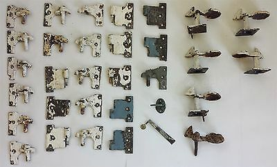LOT antique 32pc METAL HINGE LATCH DOOR RESTORATION HARDWARE parts salvage paint