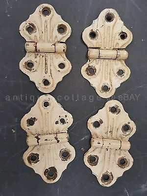 LOT antique 4 embossed CABINET HINGE art deco hardware restoration architecture