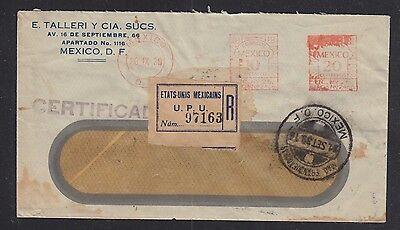 Mexico 1939 Registered Meter Mail Cover Mexico City To New York Usa