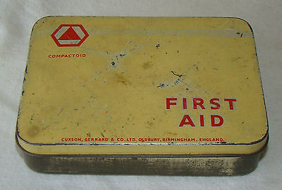 """vintage Sanoid """" Compactiod """" first aid kit tin and contents"""