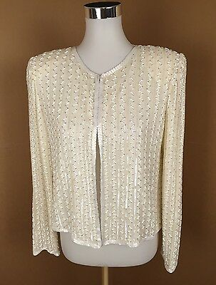 Vintage Stenay Ivory Silk Beaded Evening Jacket Top Size M
