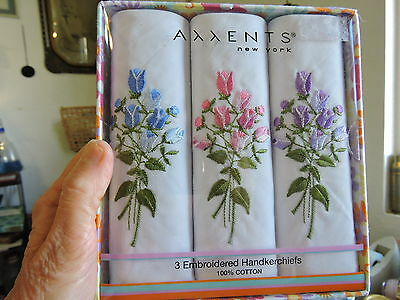NEW Axxents 100% Cotton Handkerchiefs - Embroidered Floral Hankies