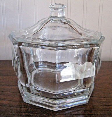 Clear Paneled Glass  Apothecary Candy Jar W/lid