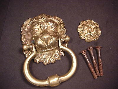 Lion Head DOOR KNOCKER w/ Tapper Antique Brass or Bronze