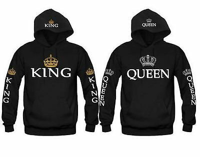 King And Queen Hoodies Valentine New Multi Colors Matching Cute Love Couples Usa