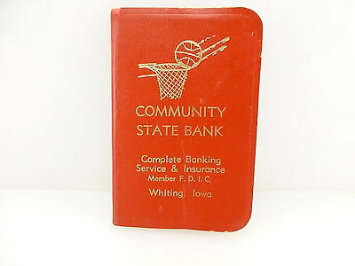 Vintage 1970 Community State Bank Whiting Iowa Address Book Note Book Calendar
