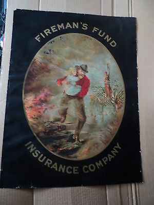 vintage FIREMAN'S FUND Insurance Company Advertising Lithographed Sign