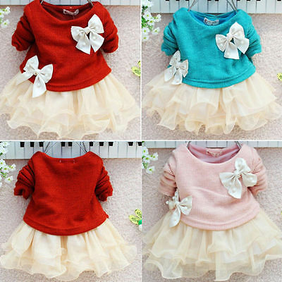 Baby Girls Long Sleeve Crochet Sweater Tops Lace Bowknot Tutu Dresses US Stock