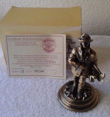 Firefighter Red Hats Duty Calls Metal Sculpture, Limited Edition 2500 Made