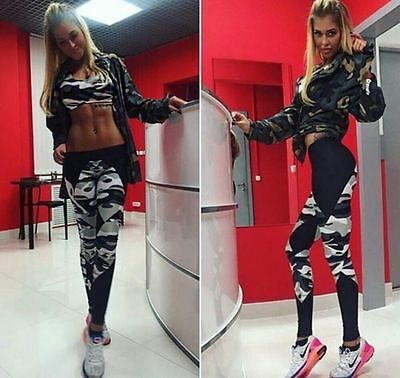US Stock Womens YOGA Gym Sports Leggings Running Fitness Pants Workout Trouser