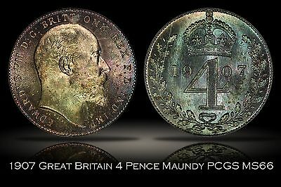 1907 Great Britain Maundy 4 Pence PCGS MS66 OGH 4D Beautiful Purple Blue Toning