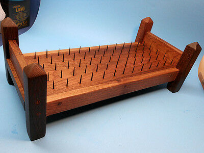 RARE Artisan Handmade Evil Elf Toys Solid Oak BED OF NAILS Doll Torture Device