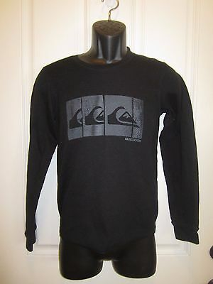 Boys Youth Sz Large QUIKSILVER Black Long Sleeve Casual Shirt with Logos