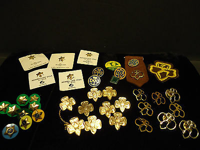 Big Lot of 38 Vintage Girl Scouts Brownies Pins Patch Button Stars Pendant