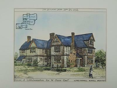 House for W. Paas, Littlehampton, West Sussex, England, 1882, Original Plan