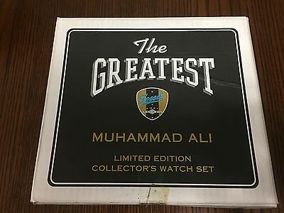MUHAMMAD ALI  AUTO SIGNED FOSSIL WATCH SET + Outer Ali Box + Receipt