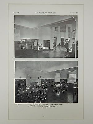 Interior, Hagaman Memorial Library, East Haven, CT, 1929, Lithograph