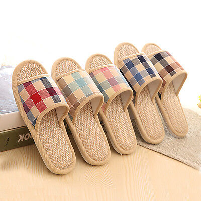 Women Men Anti-slip Linen Plaid Home Indoor Slippers Summer Open Toe Shoes Flax