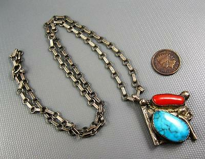 Old Pawn Navajo Sterling Turquoise Coral Hand Made Chain And Pendant Necklace