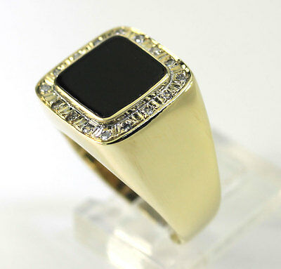 Vintage mens diamond onyx ring 14K yellow gold rd w/square cabochon 1CT size 8.5