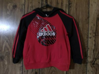 Adidas Boy's Size 6 Red/black Pullover Hooded Sweatshirt Fall/winter Guc