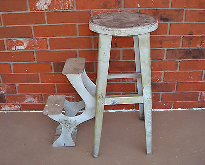 Antique Gas Station Industrial Light-Gauge Aluminum Folding Step Ladder Stool